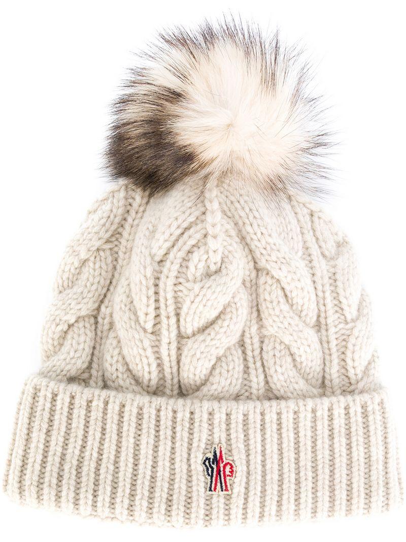 34749abd907f8 Moncler Grenoble Cable Knit Bobble Hat - White