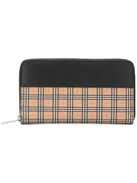 Burberry Small Scale Check And Leather Ziparound Wallet In 70450 Antique Yellow/Black