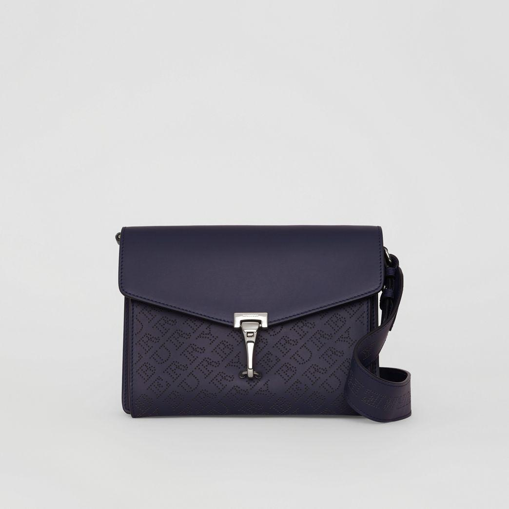 cb3a00d28f Burberry Small Perforated Logo Leather Crossbody Bag In Regency Blue