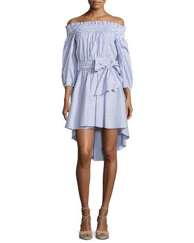 c83d4f2c666e0 Caroline Constas Peasant Striped Off-The-Shoulder High-Low Dress ...