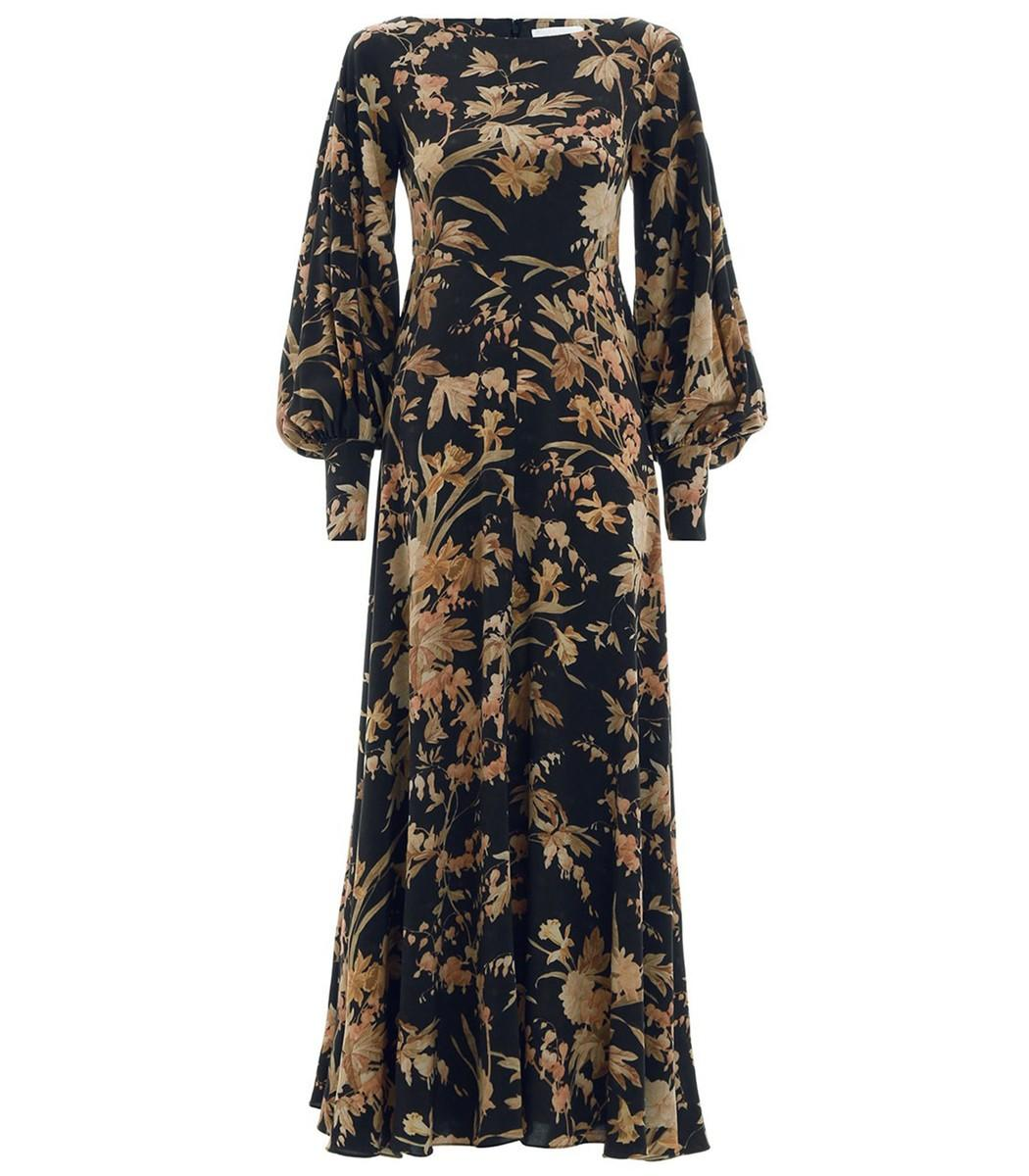 95a7712006525 Unbridled Basque Dress In Black Jonquil Floral in Multi