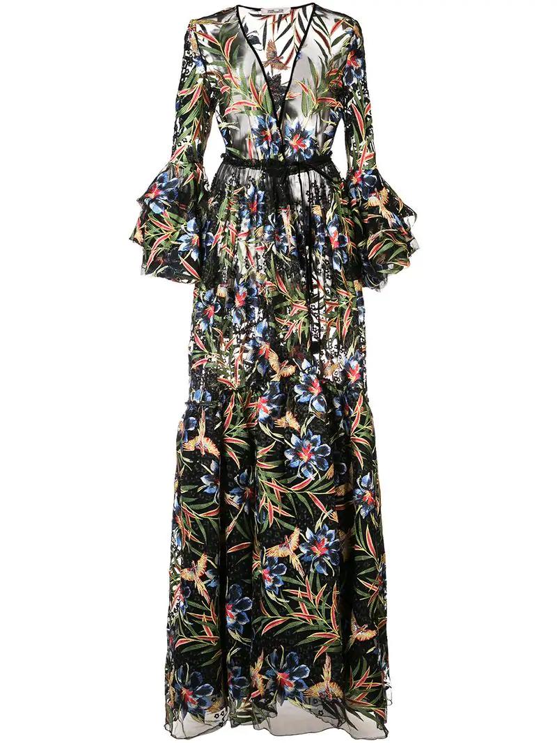 c4ab3cfae96c Diane Von Furstenberg Woman New Julian Floral-Print Silk-Jersey Maxi Wrap  Dress Multicolor