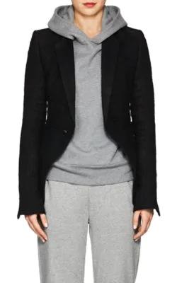 0e2ebb16c Classic Linen-Camel Hair Short One-Button Blazer in Black