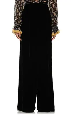 Ulla Johnson Rhett Velvet Wide-Leg Pants In Black