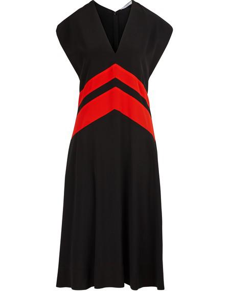 Givenchy Striped Silk Crepe De Chine Midi Dress In Black