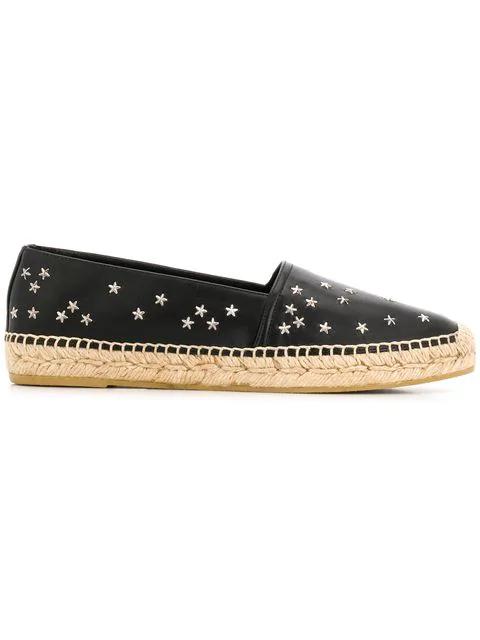 Saint Laurent Star Embellished Espadrilles In Black