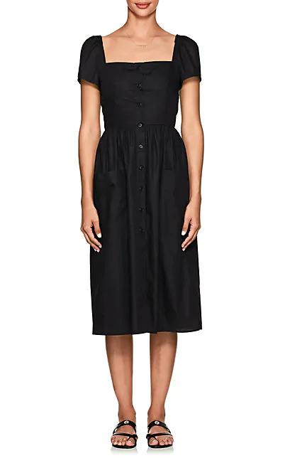 Barneys New York Cotton Poplin Midi-Dress In Black