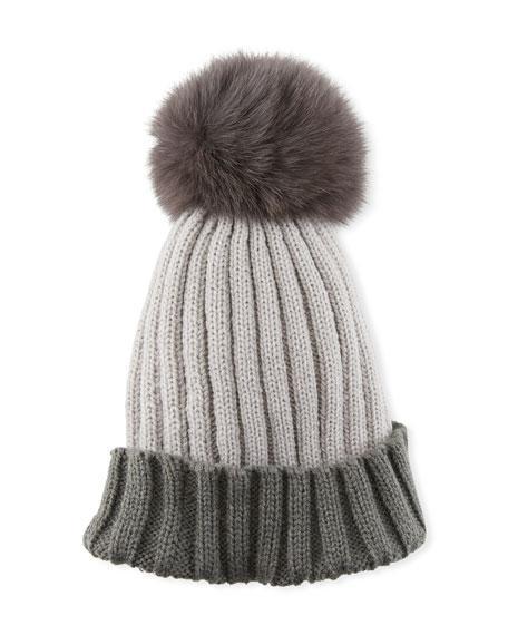 165c3175f3b Adrienne Landau Colorblock Ribbed Beanie Hat With Fox Fur Pompom ...