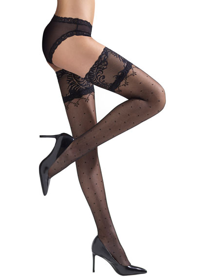 b87a191d1 Natori Silky Sheer Lace Top Thigh Highs In Black | ModeSens