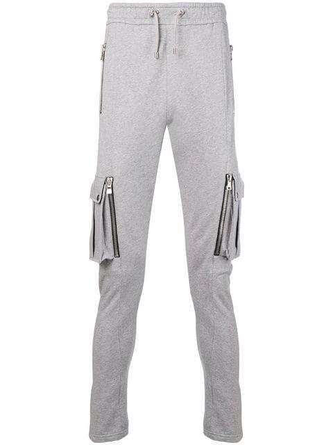 dff4b5ed0 Slim-Fit Tapered Mélange Fleece-Back Cotton-Blend Jersey Cargo Sweatpants  in Grey