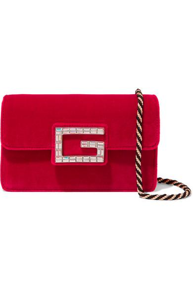 be967eb7c76 Gucci Broadway Crystal-Embellished Velvet Shoulder Bag In Red