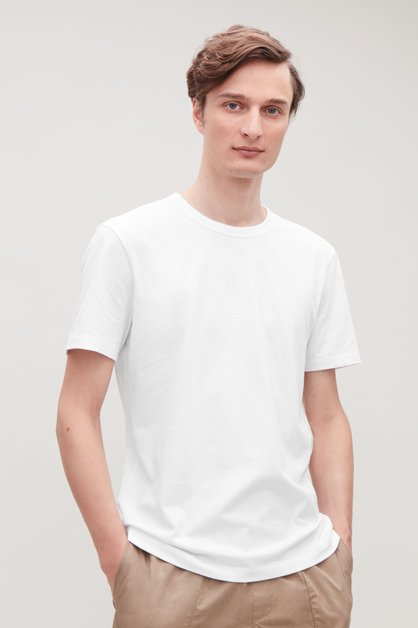 Cos Shoulder Drop T-shirt In White