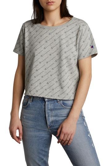 5fd0cc04f5ce Champion Cotton Cropped Logo T-Shirt In Diagonal Logo Script Heather ...