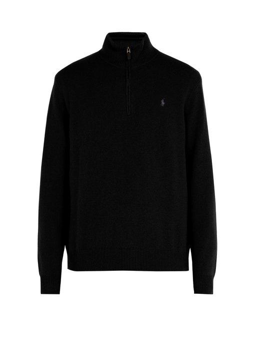 86e61ba27 Logo-Embroidered Wool-Blend Sweater in Black