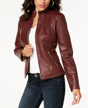 f096610878f Guess Quilted Faux-Leather Moto Jacket In Burgundy | ModeSens