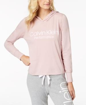 8b4a7001bf3 Calvin Klein Performance Logo Cropped Hoodie In Cameo Pink