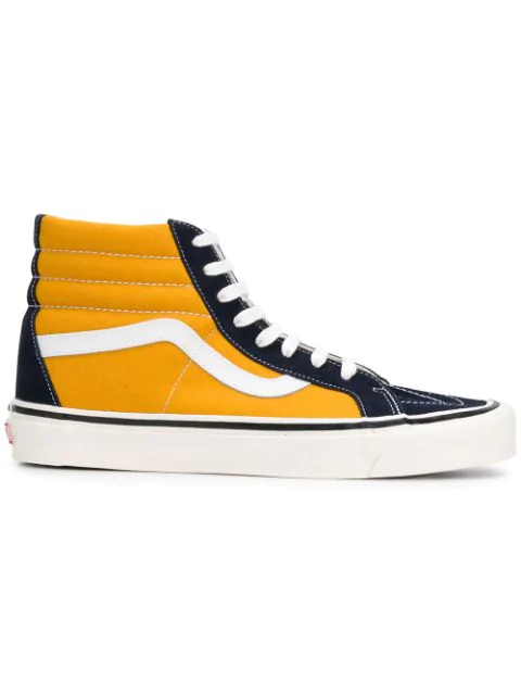 Vans Anaheim Factory Sk8-hi 38 Dx Suede And Canvas High-top Sneakers - Yellow In Yellow ,blue
