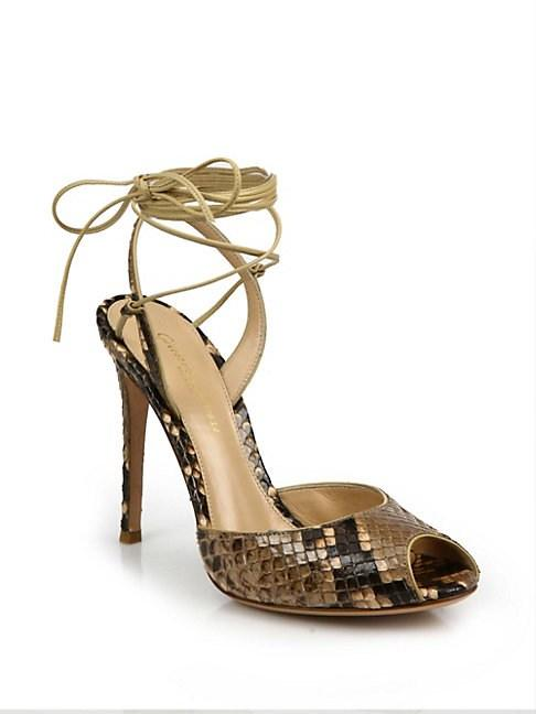 Gianvito Rossi Python-Embossed Leather Peep Toe Ankle-Wrap Sandals In Cookie