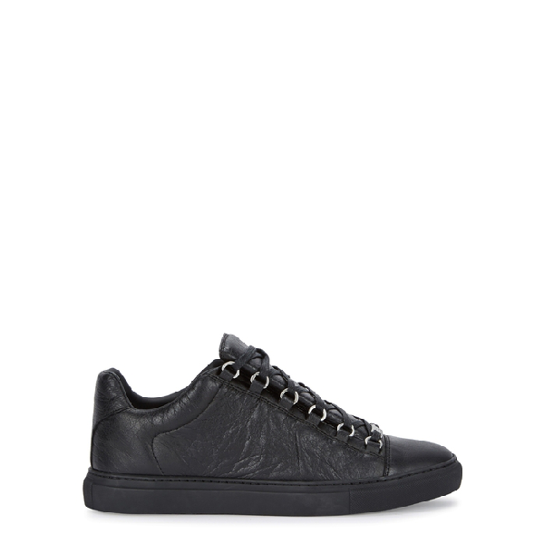 Balenciaga Arena Grained Leather Trainers In Black