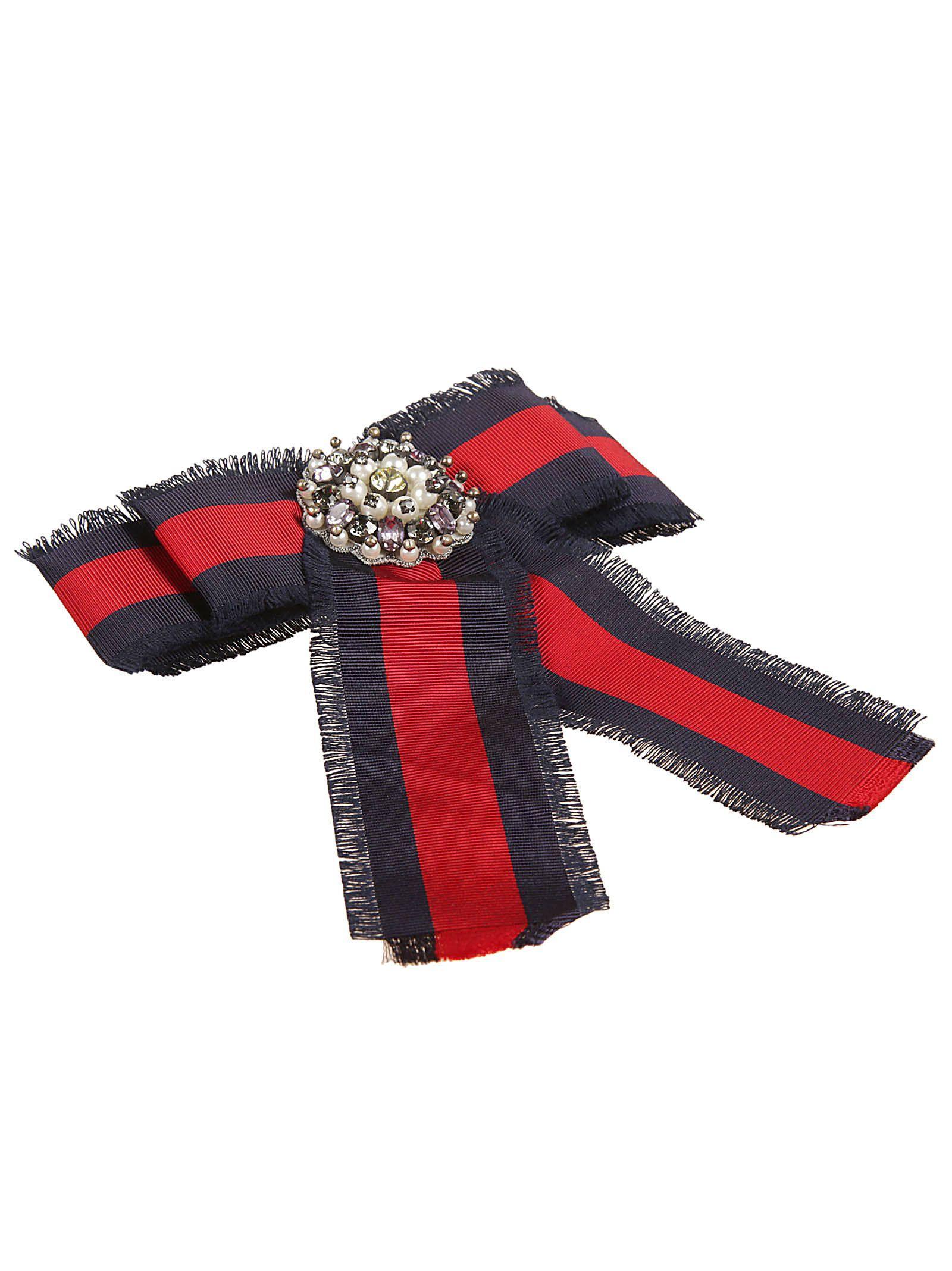 f39a9298119 Gucci Web Bow Brooch In Multicolor