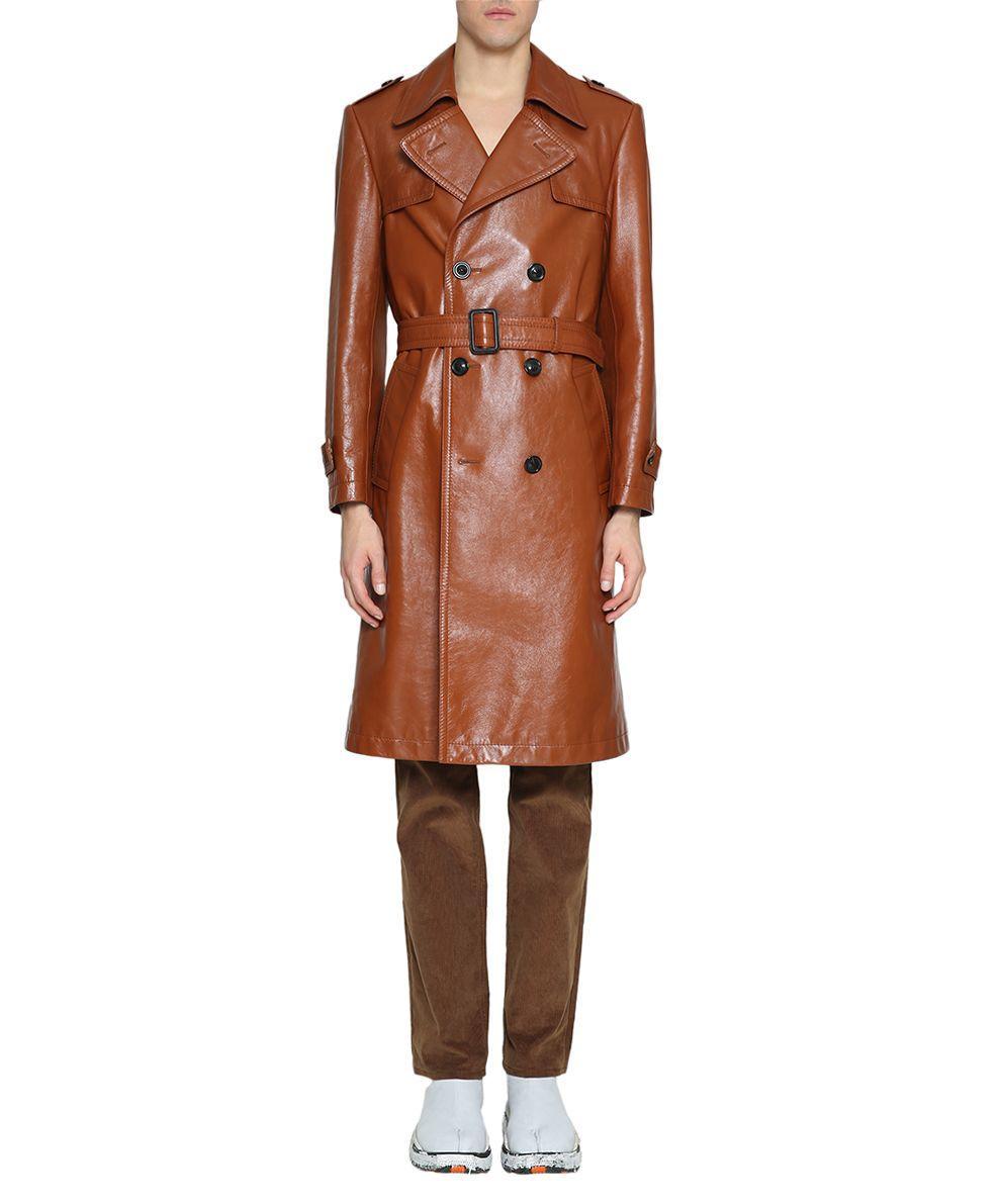 9ff2fc1bbbe Maison Margiela Cognac Leather Trench Coat In Marrone