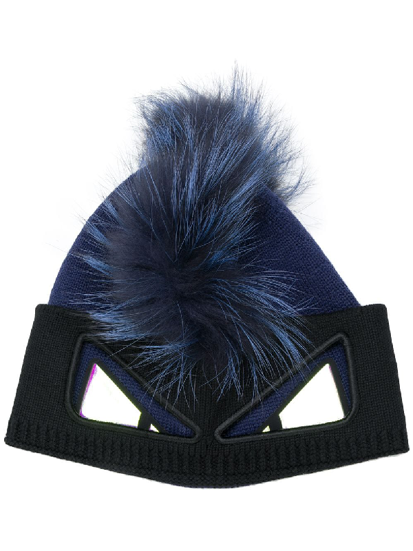 1c49a5ae Monster Knit & Fur Beanie Hat in Blue