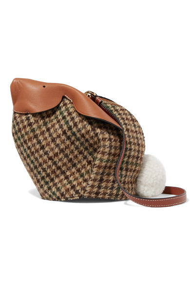 Loewe Bunny Mini Shearling Pompom-embellished Tweed And Textured-leather Shoulder Bag In Tan