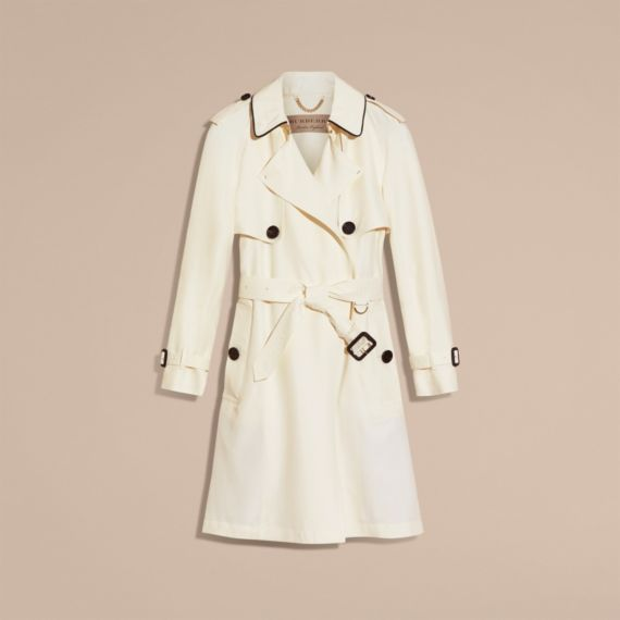 bad000727cf Burberry Oversize Silk Trench Coat With Puff Sleeves In Parchment ...