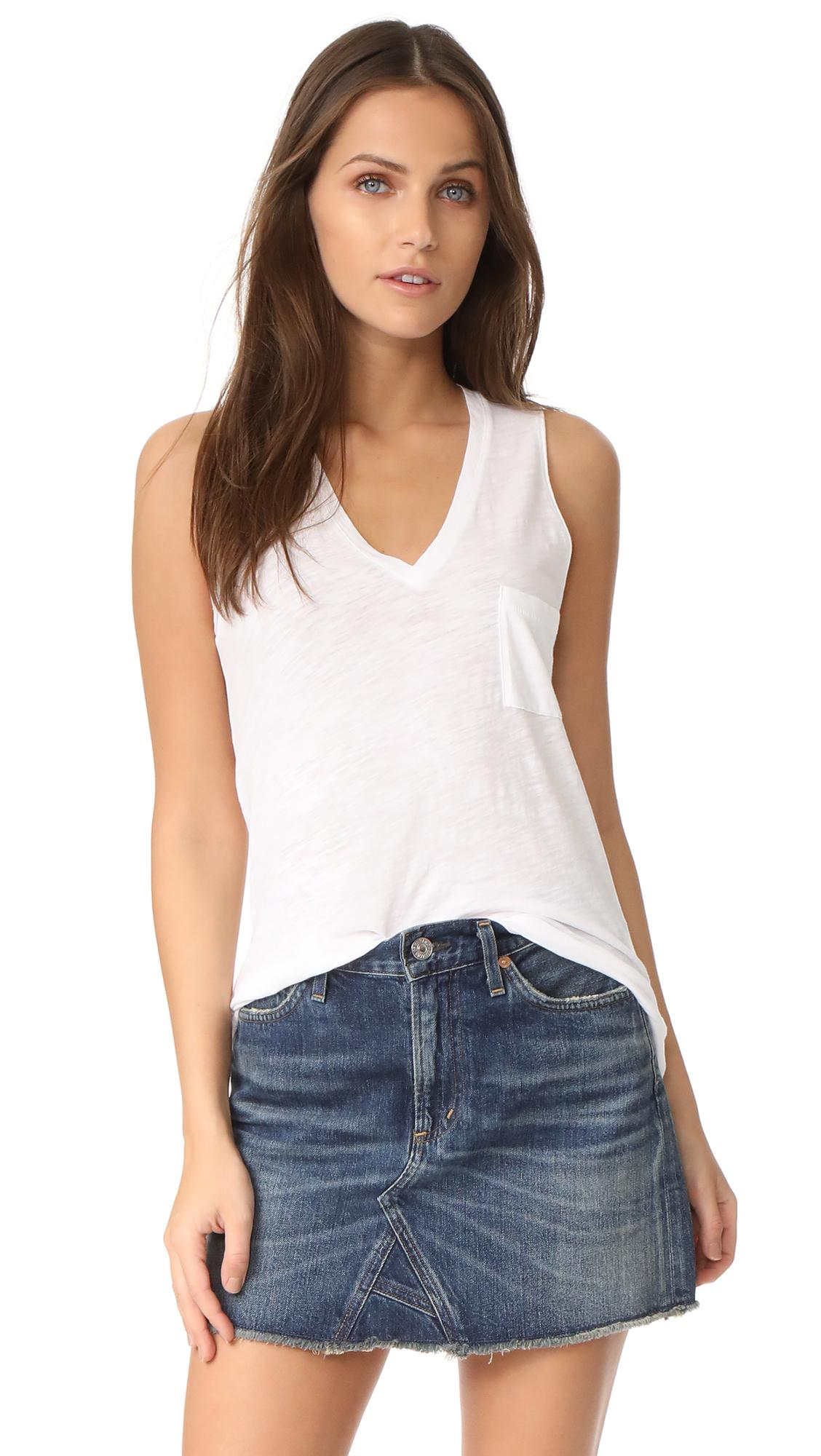 bdff374ff3599 A feather-light Madewell tank top in slubbed jersey. Patch front pocket. V  neckline. Fabric  Slubbed jersey. 100% cotton. Wash cold. Imported