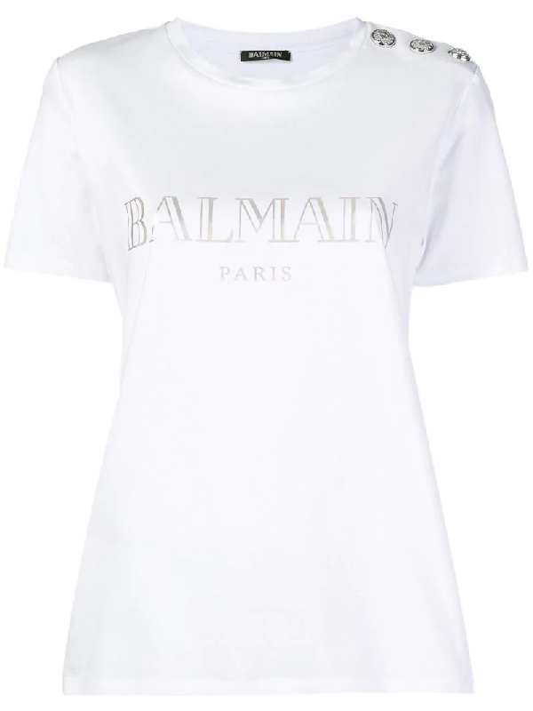 2c15a2d9f Balmain Womens Yellow Logo-Print Cotton-Jersey Short Sleeve T-Shirt ...