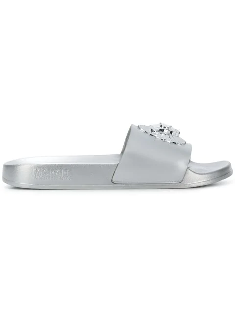 Michael Michael Kors Rory Metallic Slides In 040 Silver