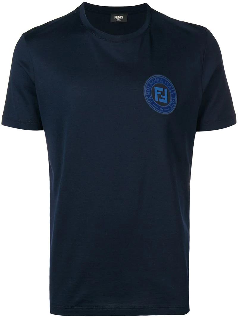410ca883 Fendi Logo Patch T-Shirt - Blue   ModeSens