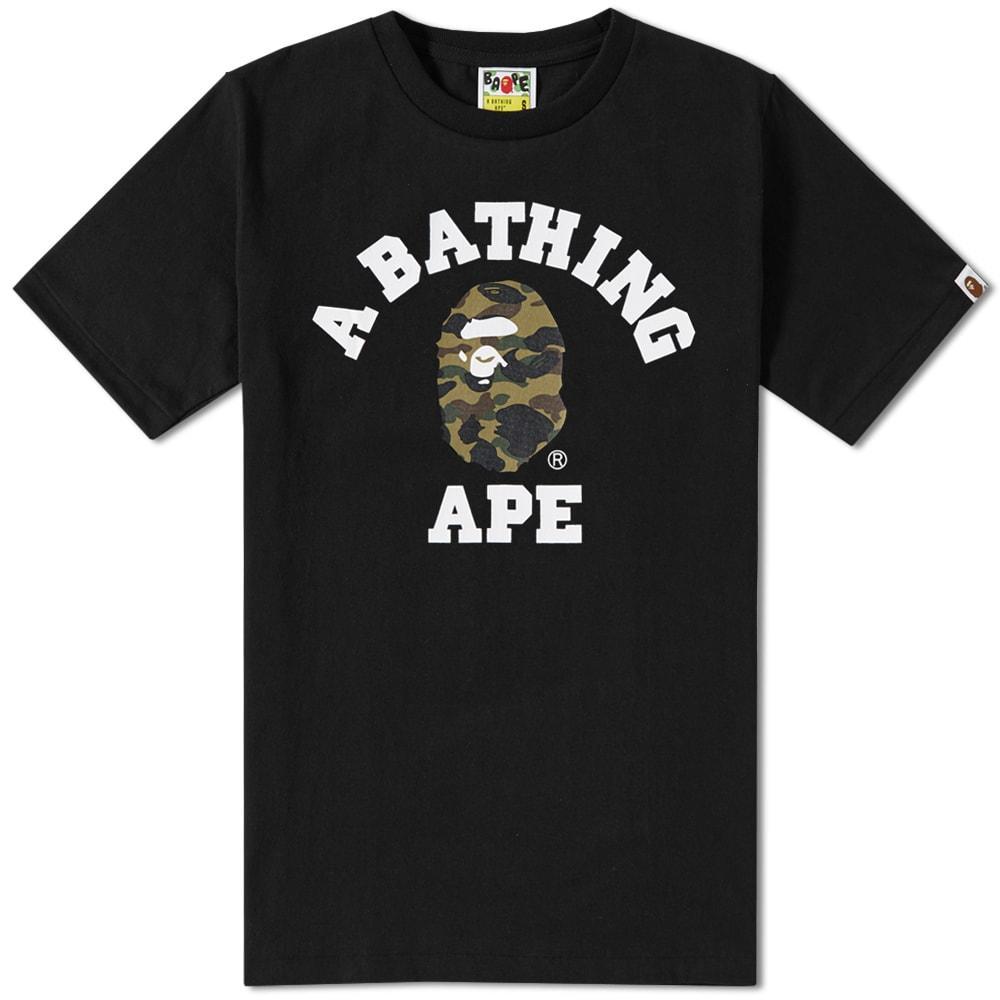 e1d580029764 A Bathing Ape 1St Camo College Tee In Black