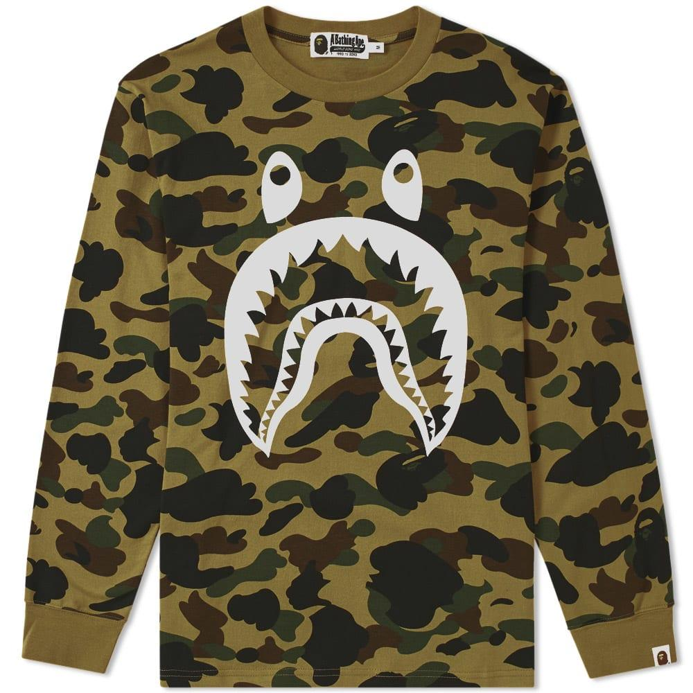 1b2be3216f0cb A Bathing Ape Long Sleeve 1St Camo Shark Tee In Green | ModeSens