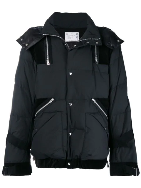 Sacai Velvet-Trimmed Quilted Ripstop Hooded Down Jacket In Black