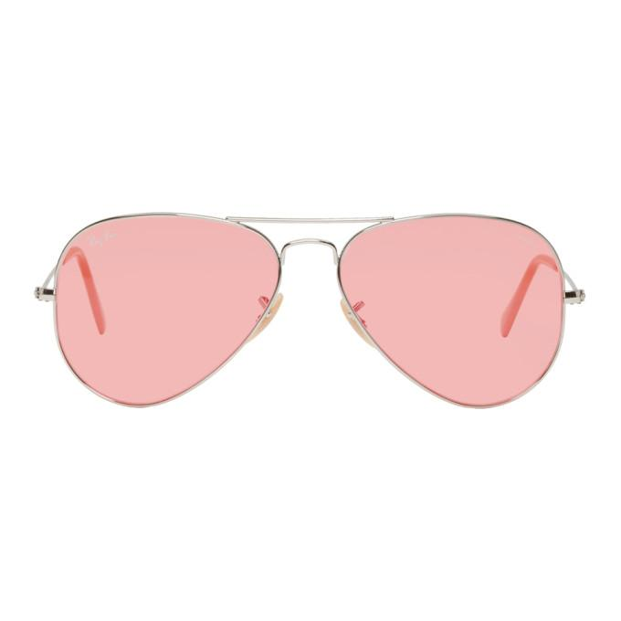 0a13b4220bd Ray Ban Ray-Ban Silver And Pink Pilot Aviator Sunglasses In 683 Pink ...