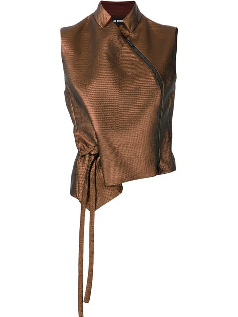 Ann Demeulemeester Zipped Detail Sleeveless Blouse - Brown