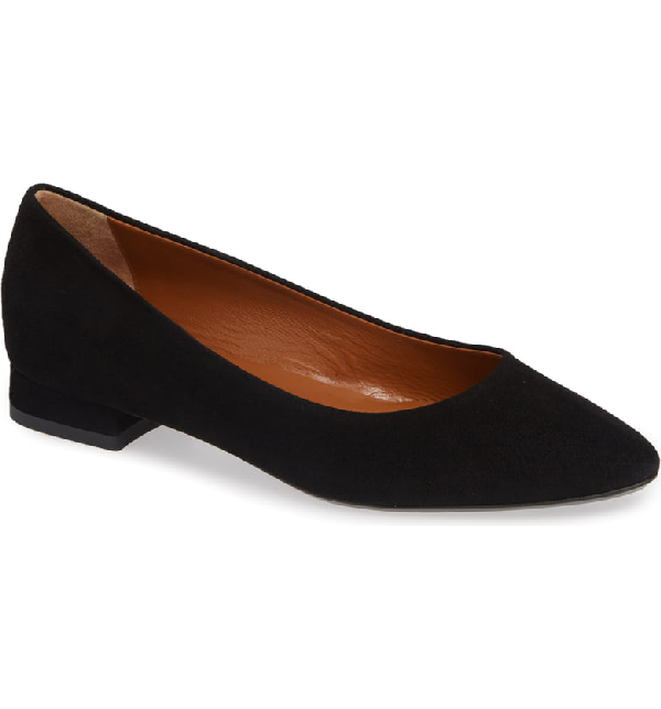1317341067e Aquatalia Penina Suede Rubber-Sole Ballet Flats In Black Nappa ...