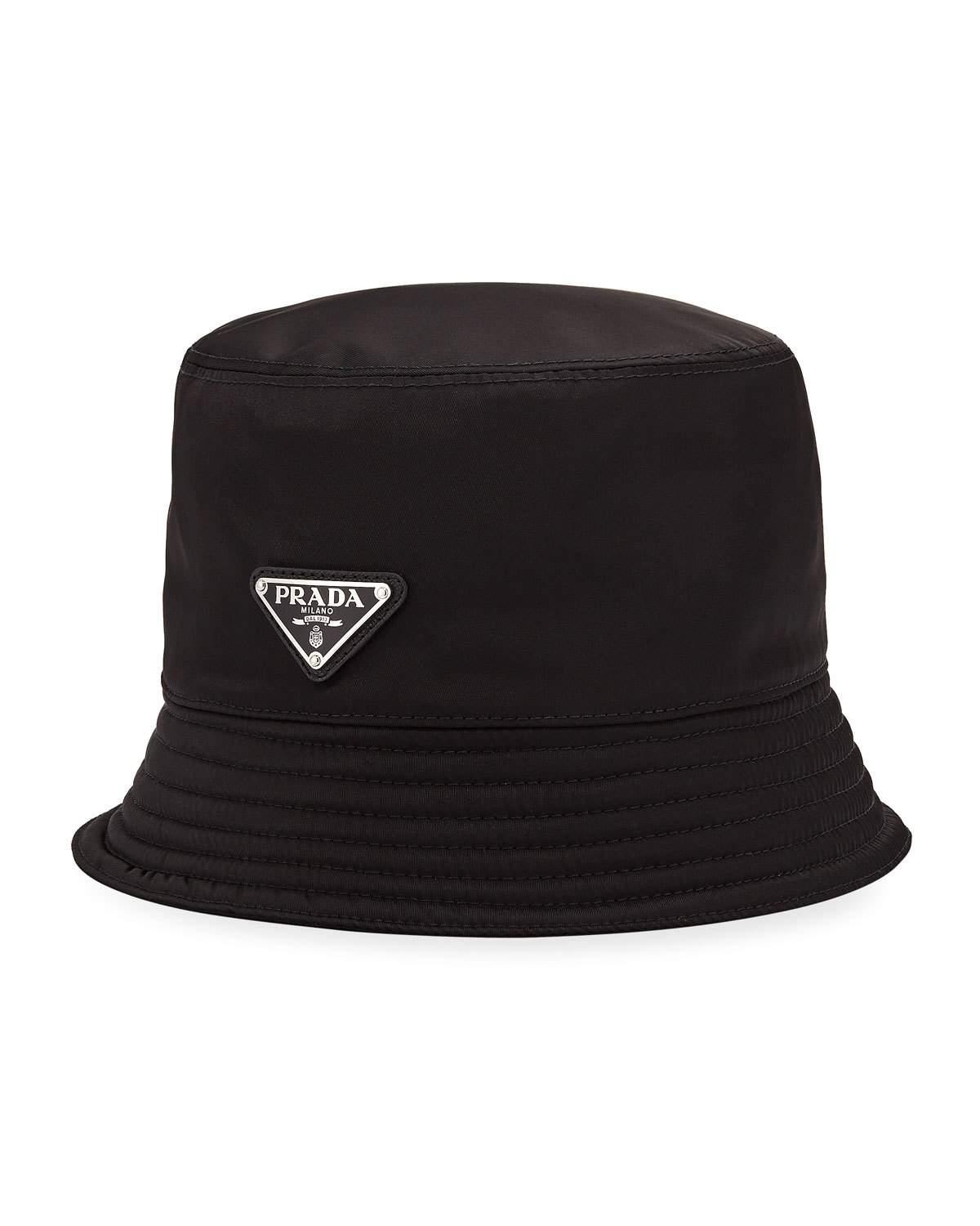 dced84f38f80b Prada Men s Nylon Bucket Hat With Logo
