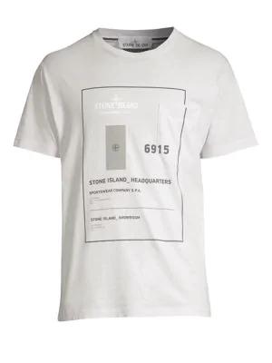 2ac526c59 Stone Island Men'S Graphic Cotton T-Shirt In White   ModeSens