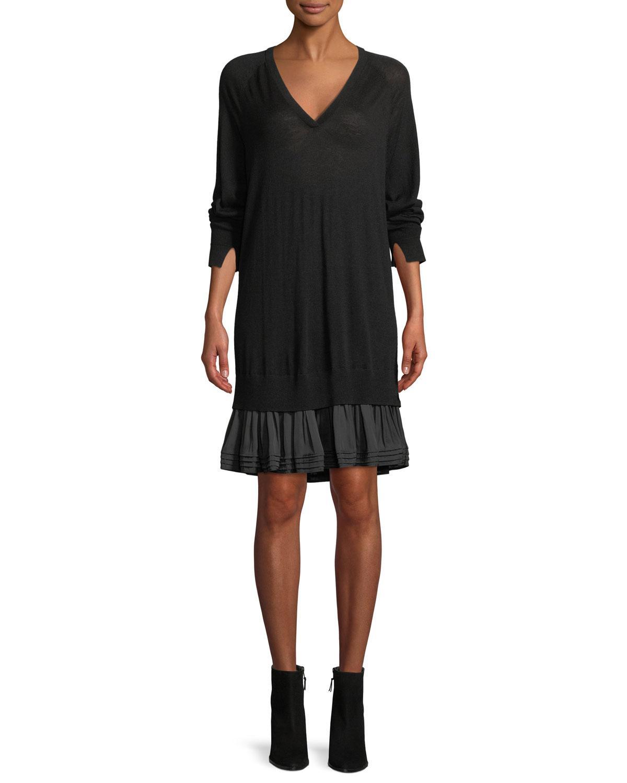 Halston Heritage Long-Sleeve Ruffle Sweater Dress In Black