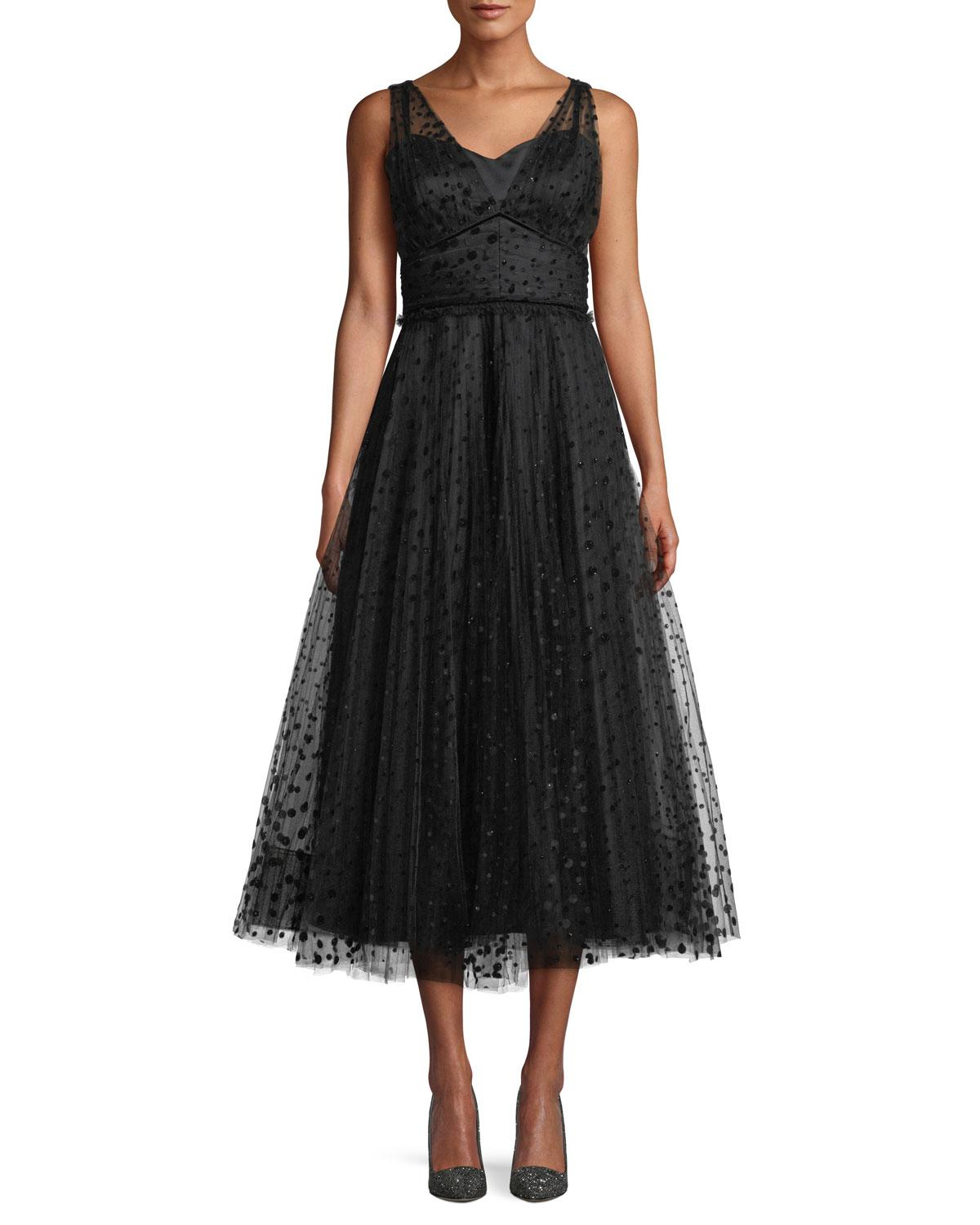 3857e1808f Shoshanna Huntleigh Pleated Midi Dress W/ Velvet Polka Dots In Jet ...
