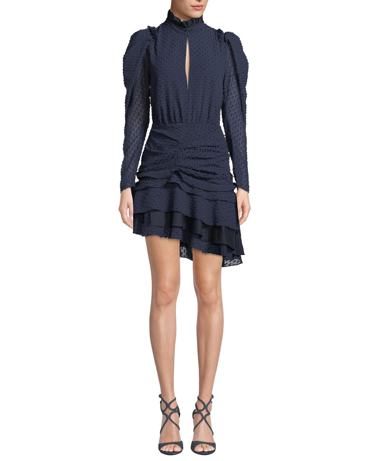 7d1de591e2024 Camilla And Marc Evelyn Long-Sleeve Ruched Mini Dress In Dark Blue ...