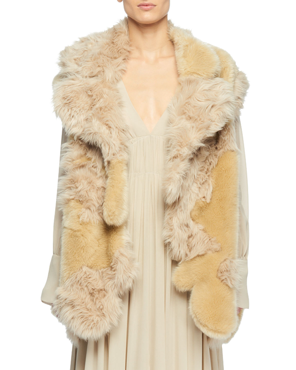 14ac7f28baaa4 Stella Mccartney Oversized Patchwork Faux Fur Coat In Beige | ModeSens
