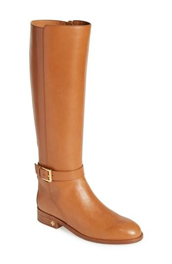 297cebb51 TORY BURCH Women s Brooke Round Toe Leather Riding Boots in Tan. Tory Burch  Women