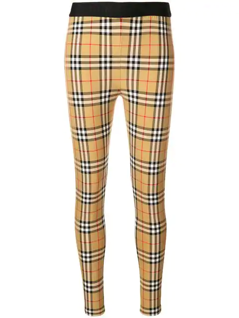 Burberry Belvoir Checked Stretch-Jersey Leggings In Brown
