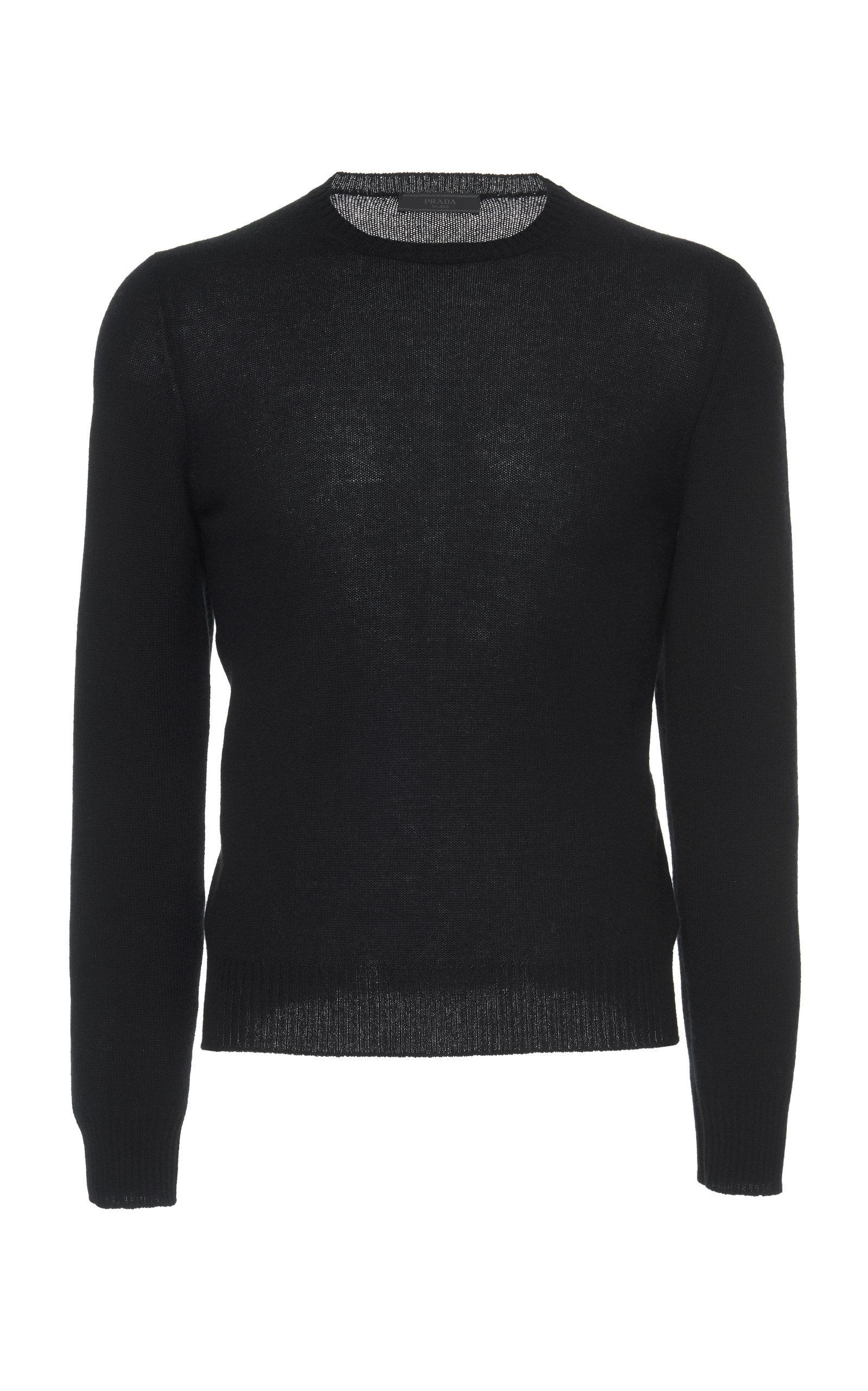 Prada Cashmere Crewneck Sweater In Black