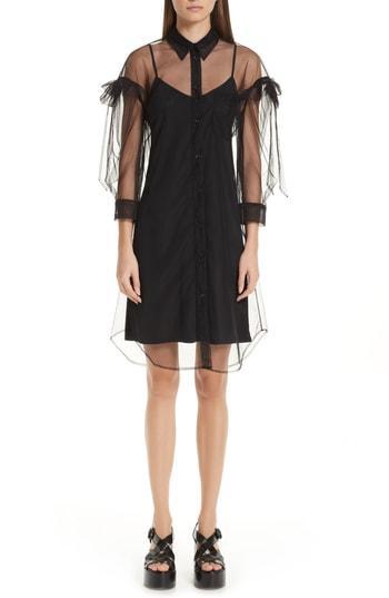 Simone Rocha Ruffled Tulle Shirtdress In Black