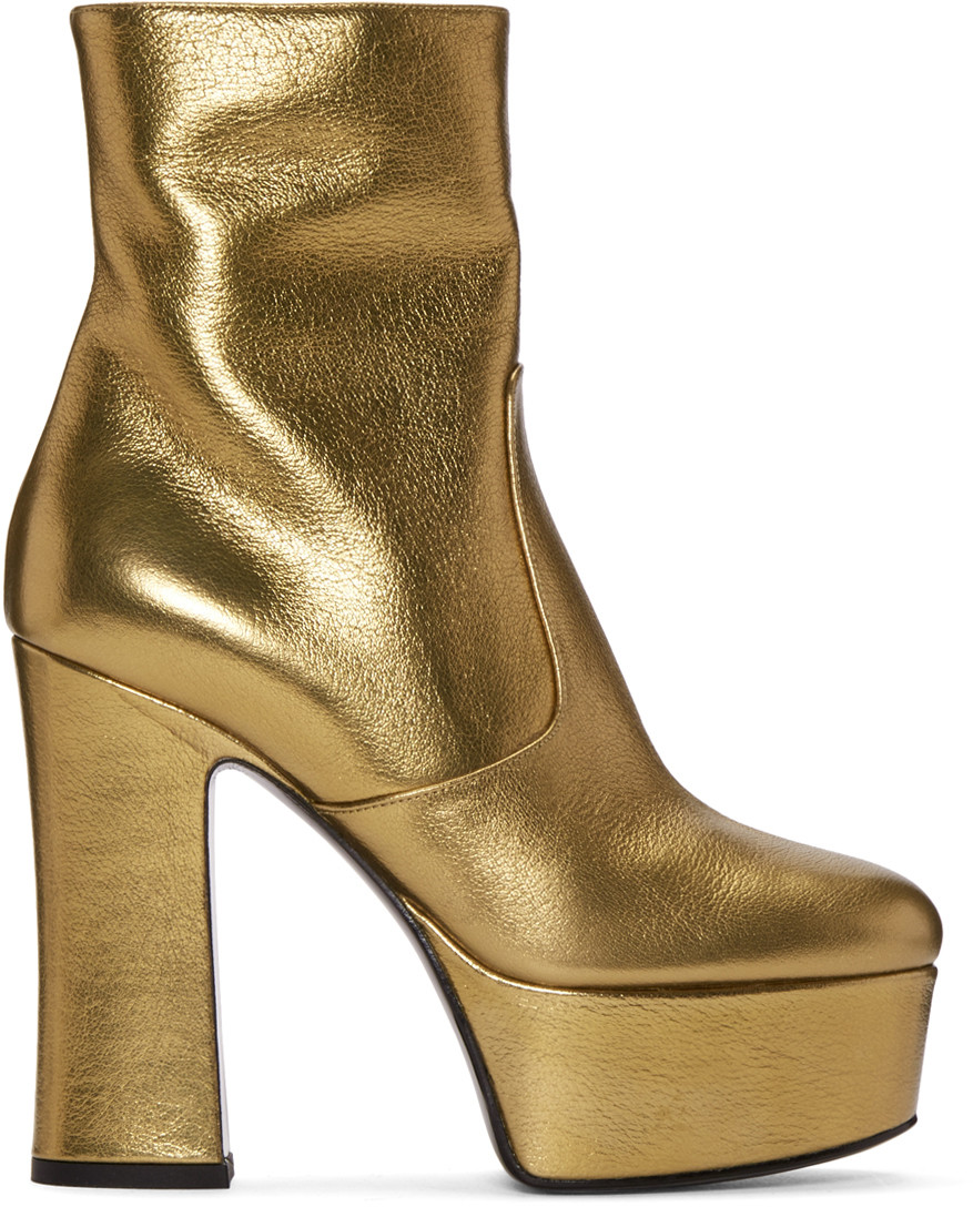9075290b30f Saint Laurent Gold Platform Candy Boots | ModeSens