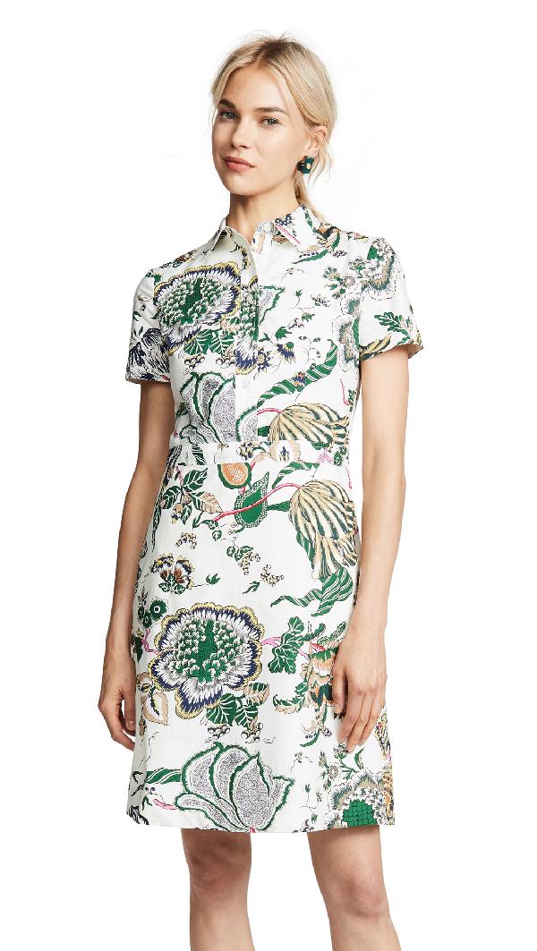 e294c7e316d3 Tory Burch Port Cotton Floral-Print Shirt Dress In Ivory Happy Times ...